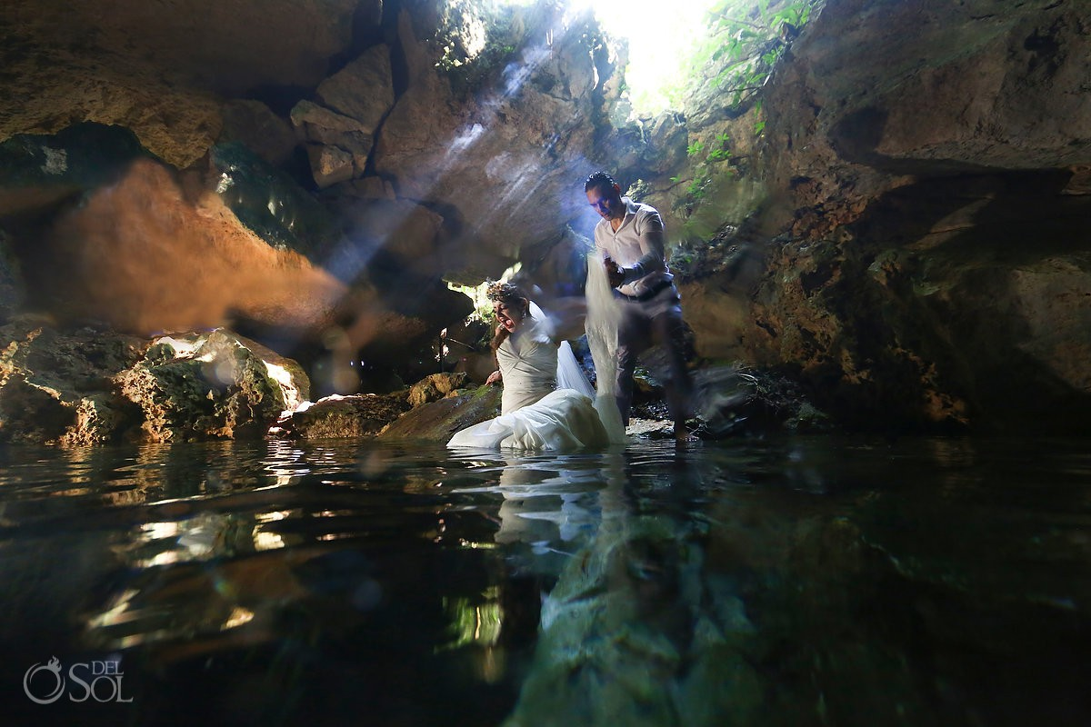 Bride and groom water reflection cenote Trash the Dress