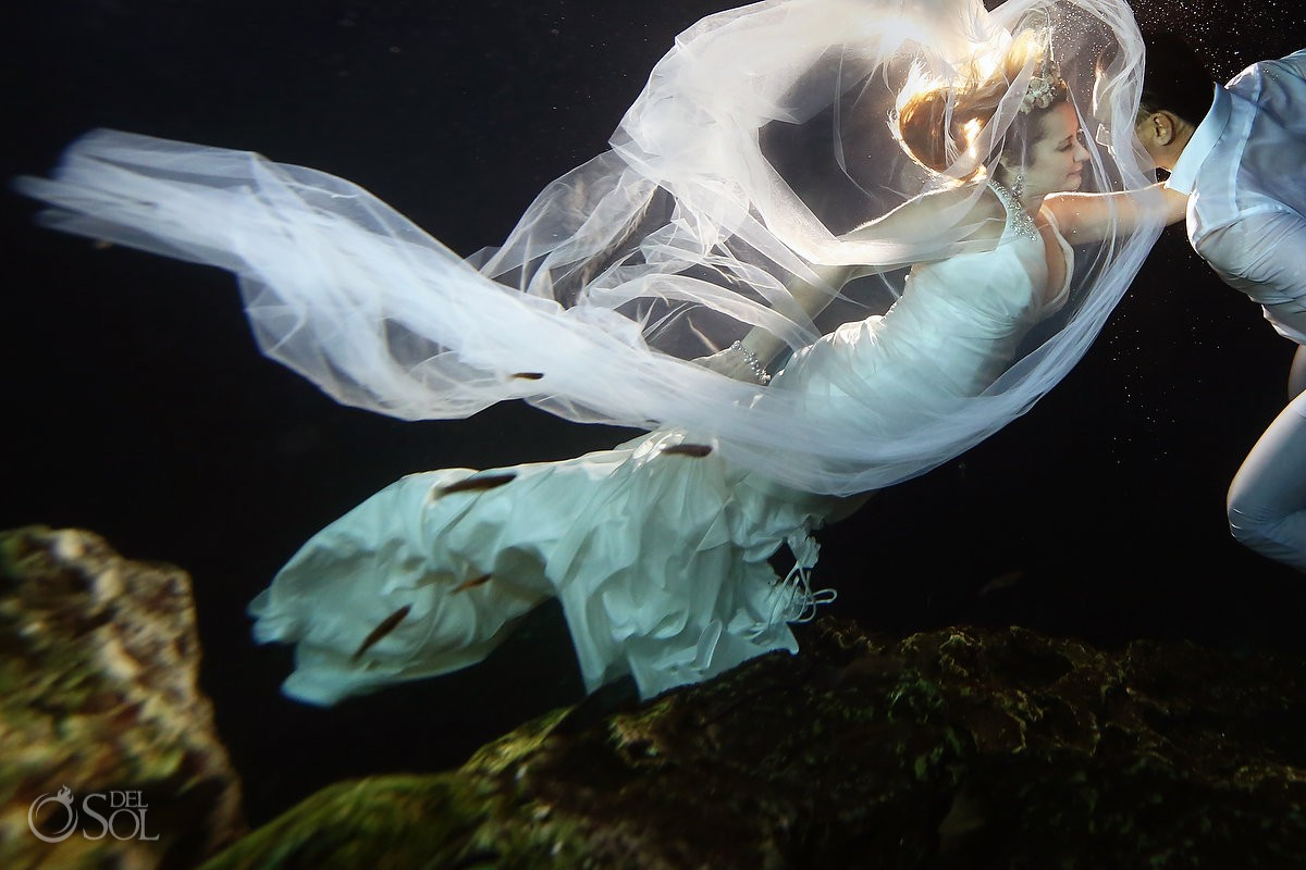 After wedding picture ideas Cenote Trash the Dress Riviera Maya Mexico.