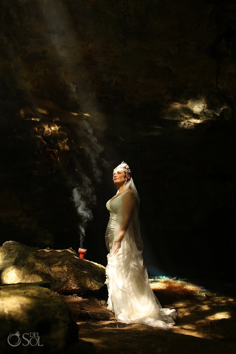nature spot sun light beautiful bride portrait Cenote Trash the Dress Riviera Maya Mexico.