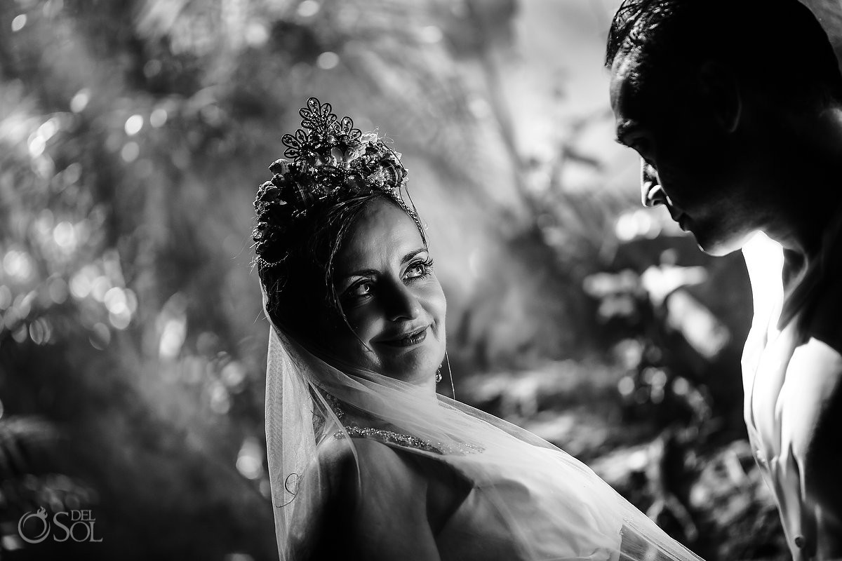 look into his eyes black and white portrait trash the dress Riviera Maya