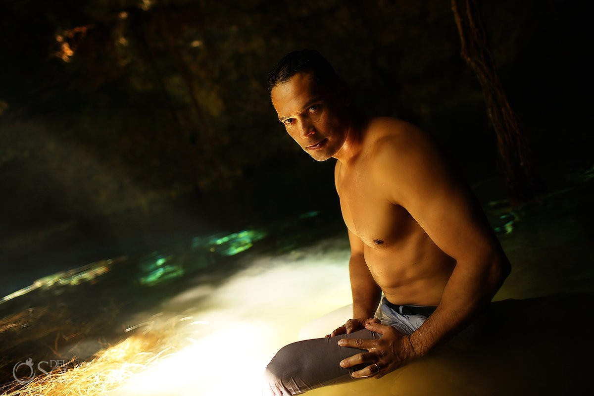 Groom sexy portrait Cenote Trash the Dress Riviera Maya Mexico.