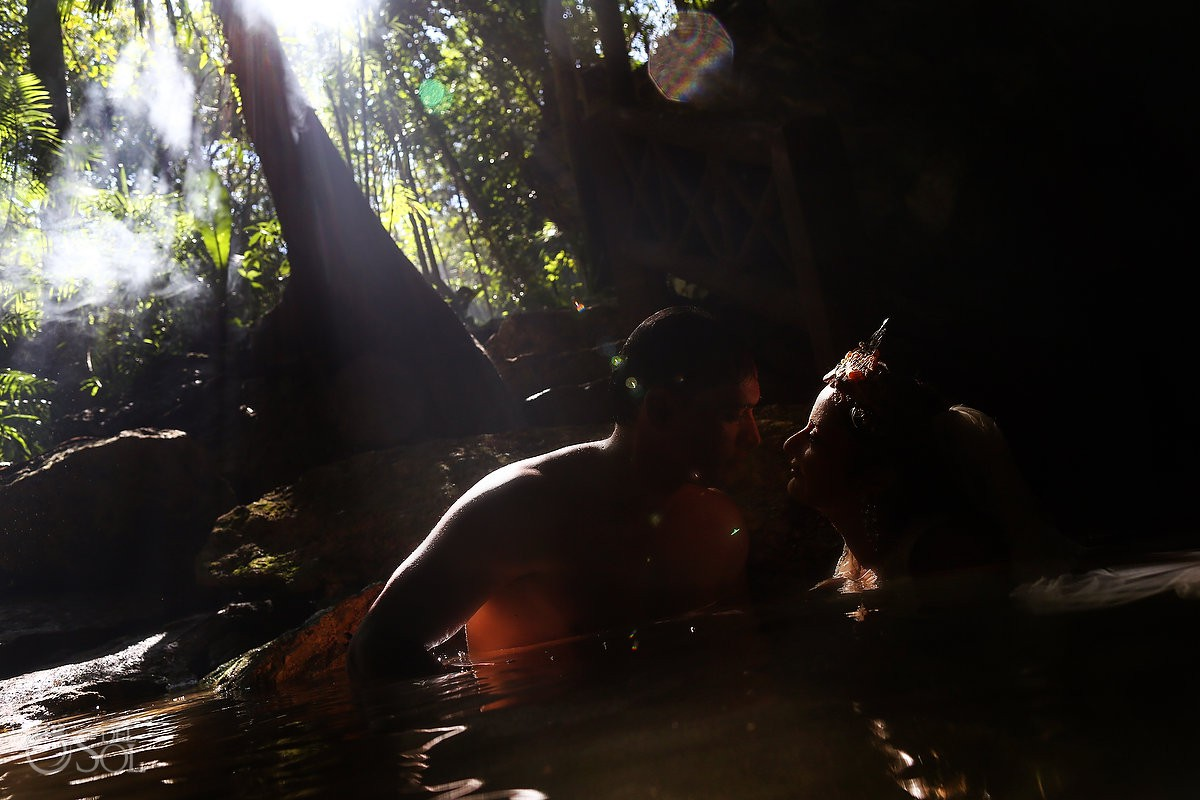 Jungle silhouette Trash the Dress Riviera Maya Mexico.