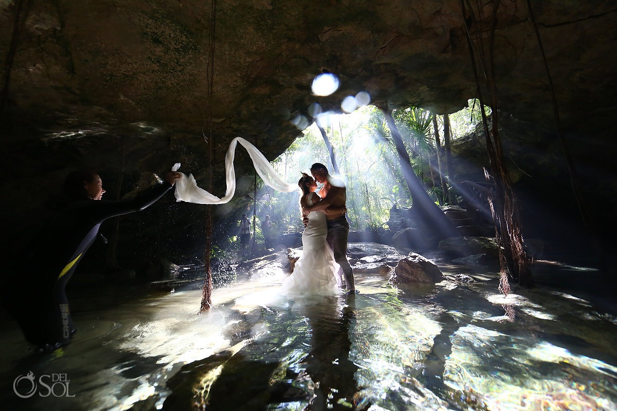 Best Cenote Riviera Maya bride and groom trash the dress Mexico