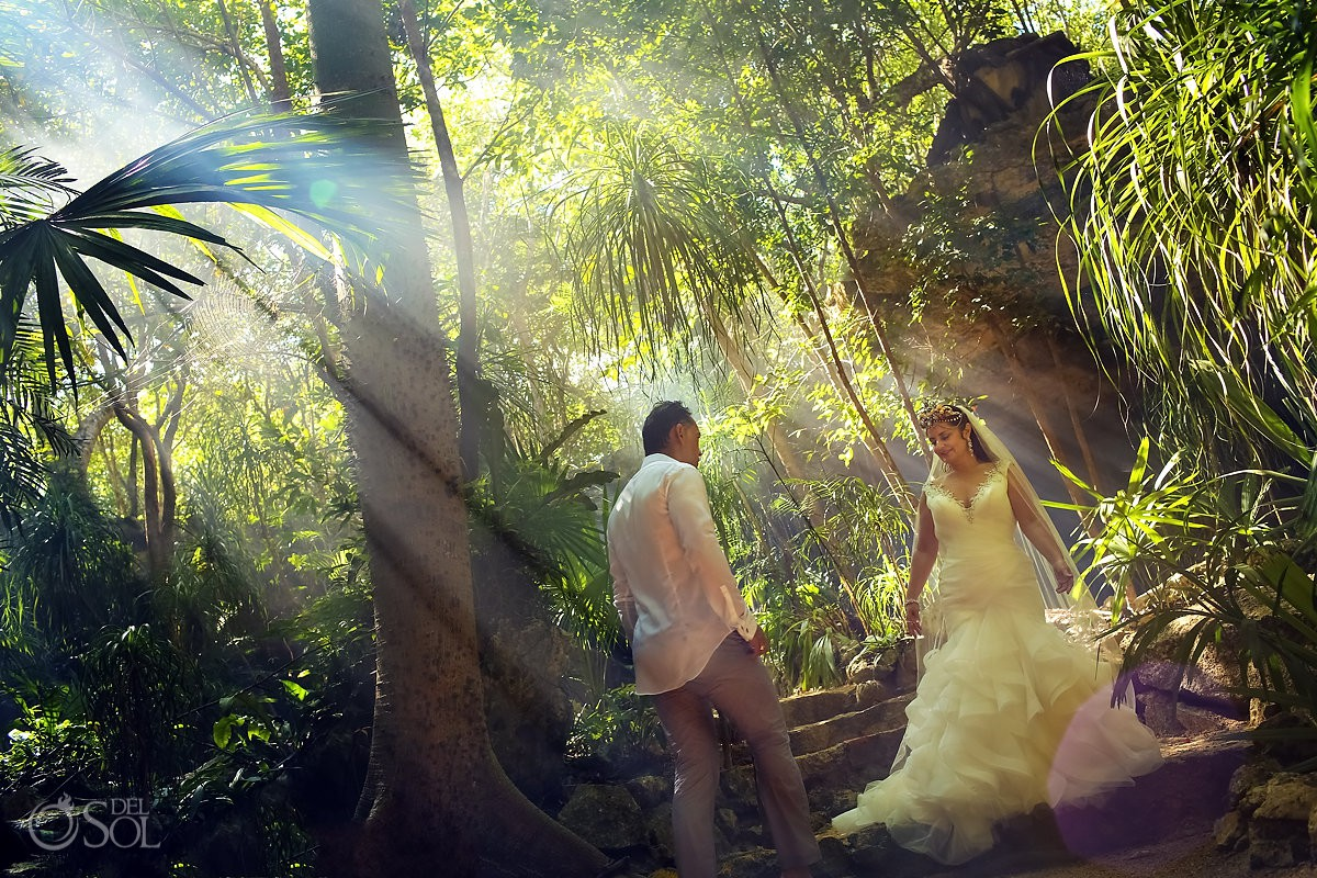incredible light jungle Cenote Trash the Dress Riviera Maya Mexico.