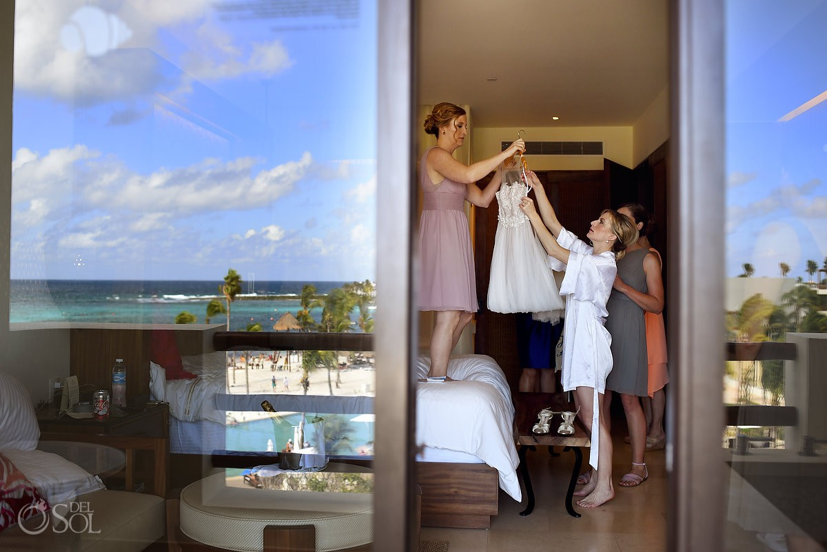 creative getting ready photo reflection Secrets Akumal Riviera Maya, Mexico