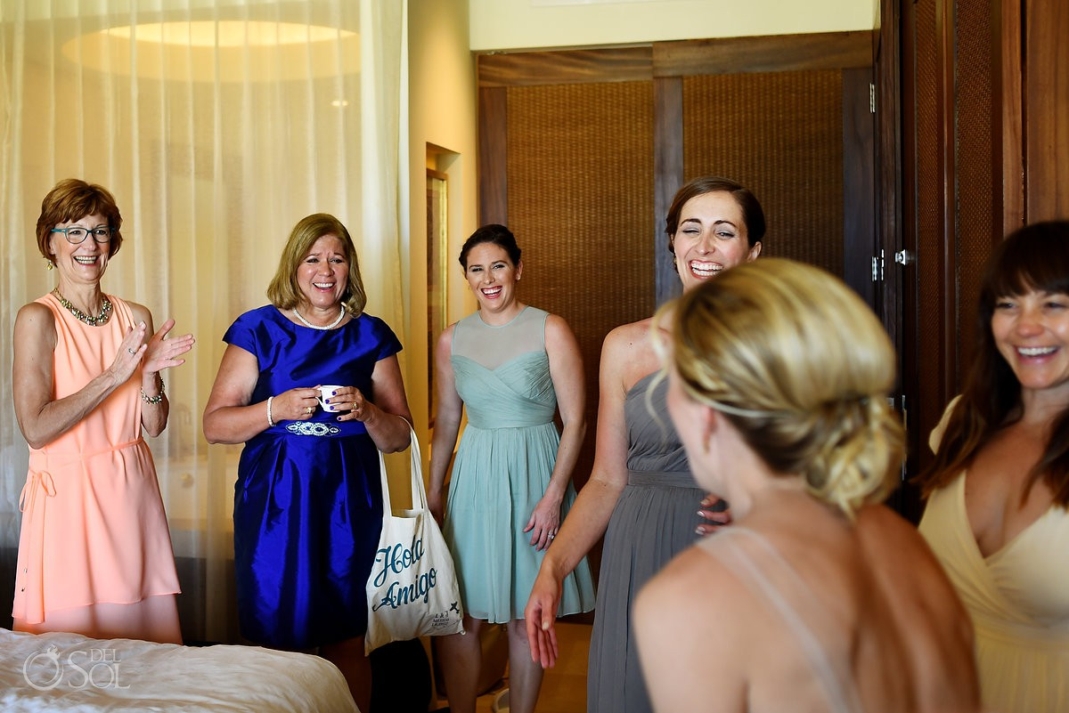 candid destination wedding getting ready moment Secrets Akumal, Riviera Maya, Mexico