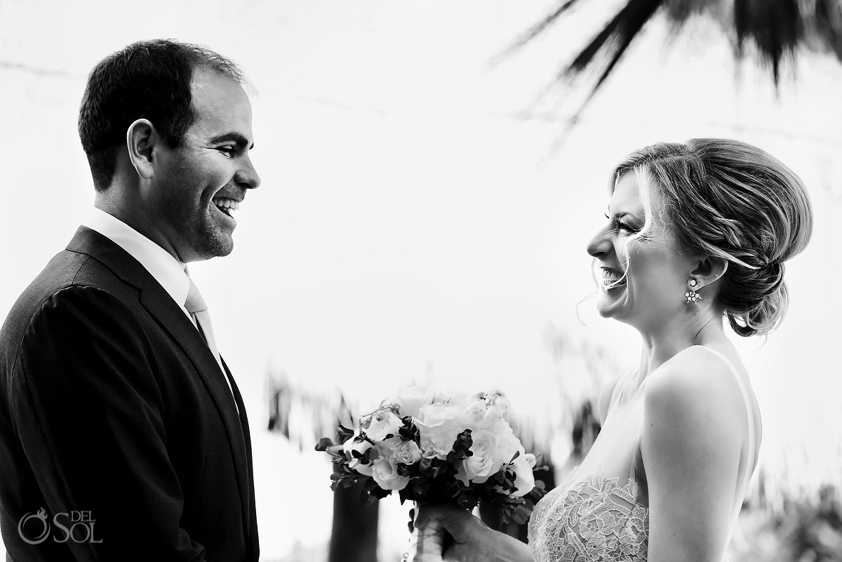 Black and white bride and groom portrait first look before wedding Secrets Akumal