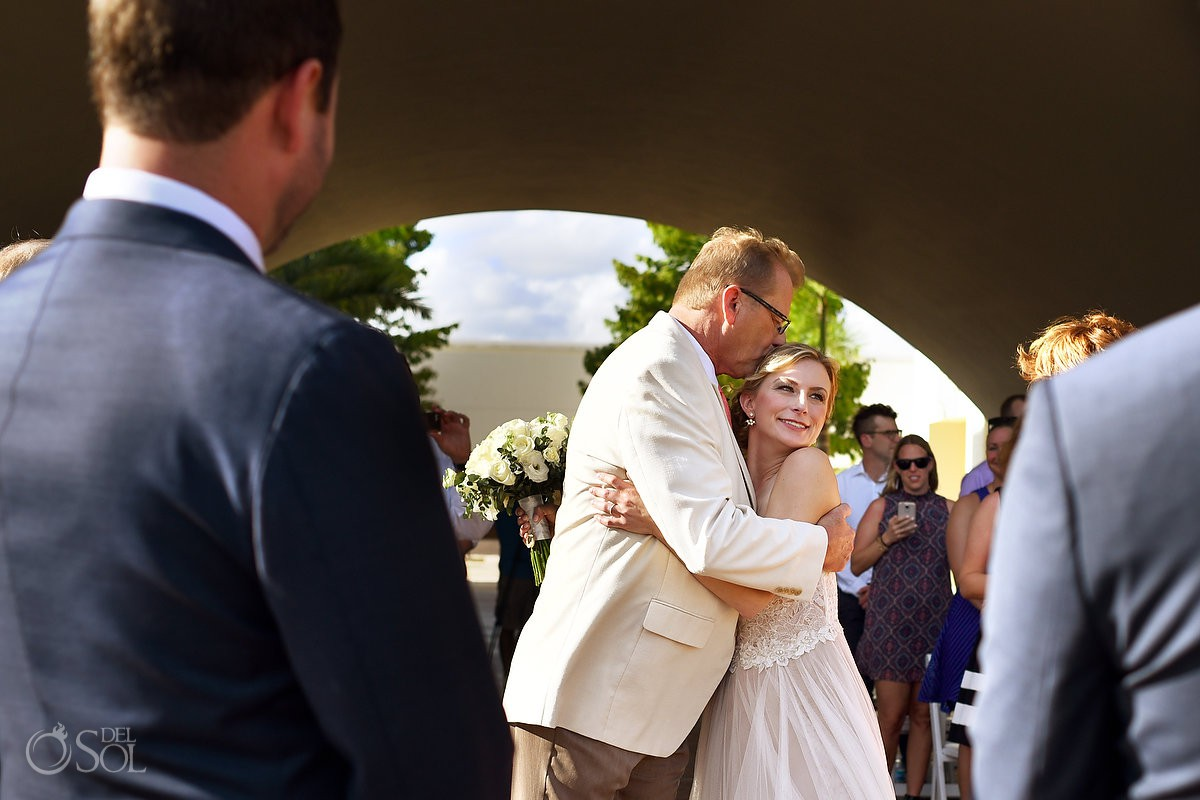 Father giving away bride wedding ceremony Secrets Akumal Riviera Maya Mexico
