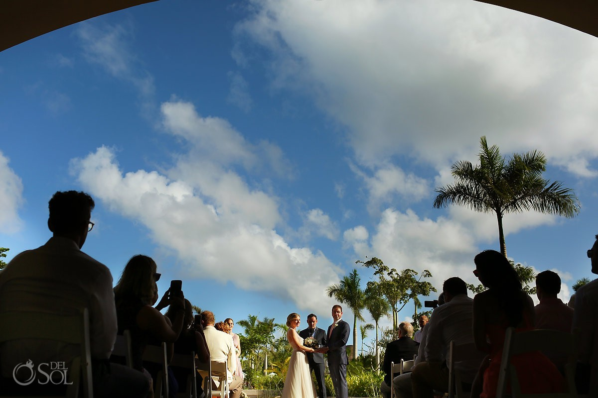 Artistic wedding ceremony photography Secrets Akumal Riviera Maya Mexico.