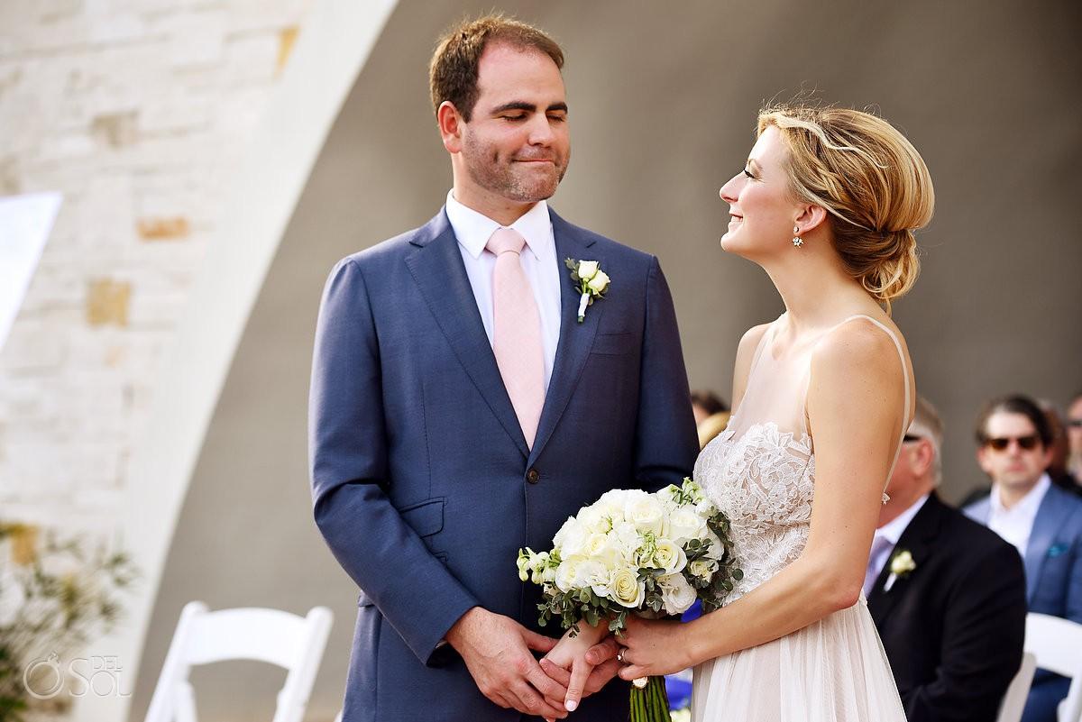 bride and groom vows destination wedding photography Secrets Akumal Riviera Maya Mexico