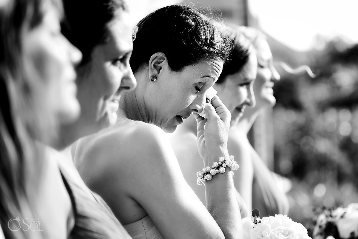 wedding guest emotion black and white photography Secrets Akumal Riviera Maya Mexico