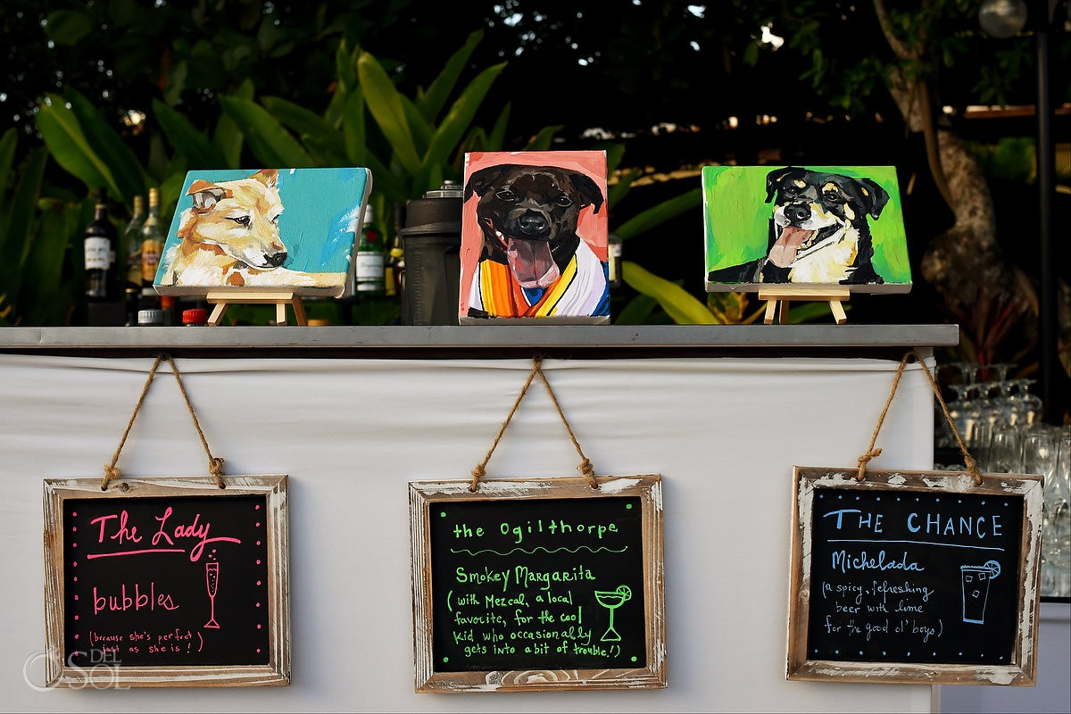 pet lover wedding idea dog signature cocktails custom portraits painted by Leah Tumerman