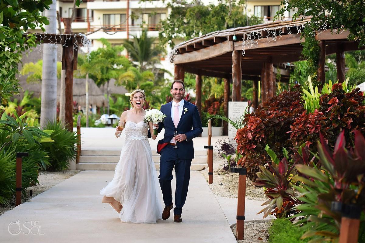 bride and groom reception entrance destination wedding Secrets Akumal Riviera Maya Mexico