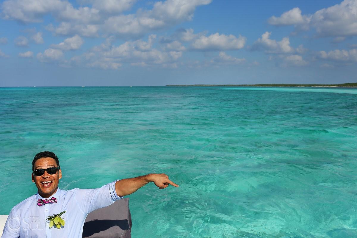 Blue water cozumel beach groom's best day