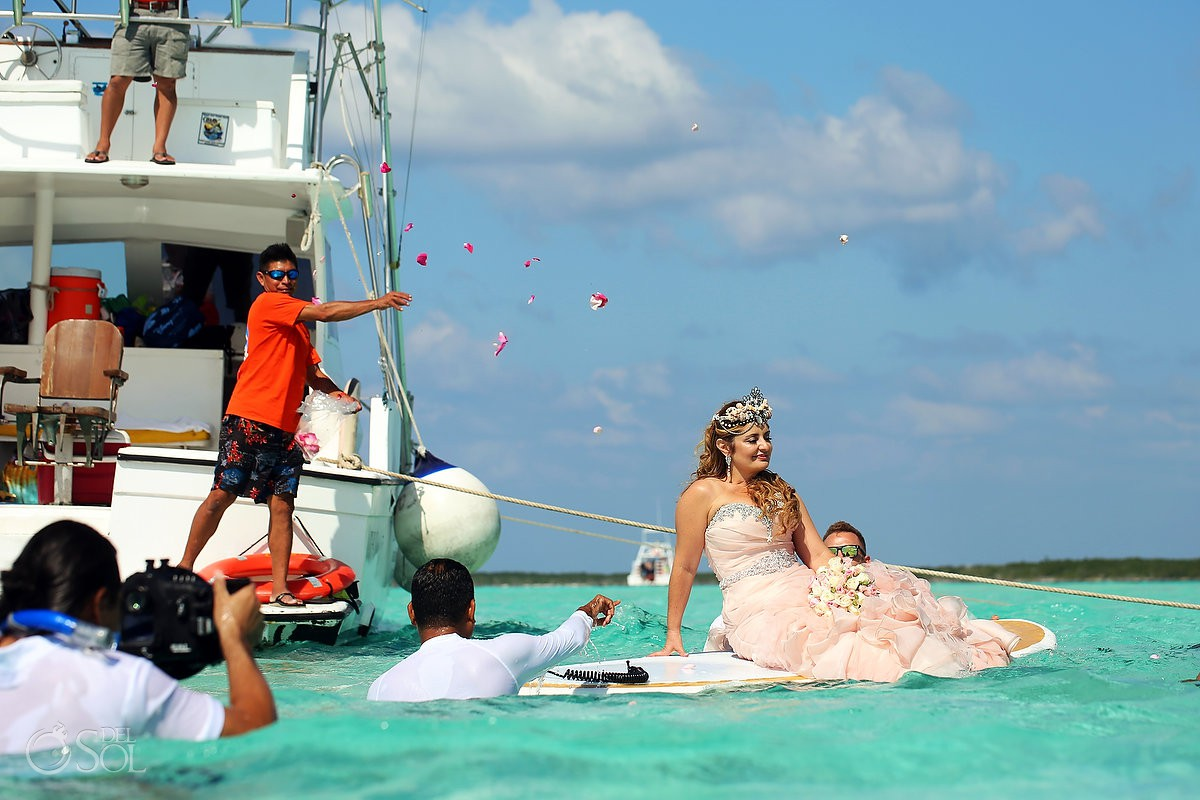 Susana the mermaid bride processional el cielo cozumel impossible wedding