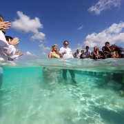 Wedding processional father and daughter el Cielo Cozumel Mexico