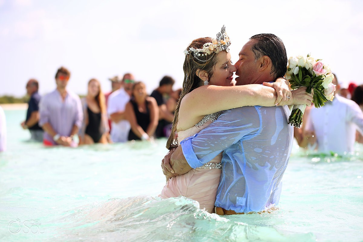 First Kiss Wedding Water Ceremony El Cielo Cozumel Mexico