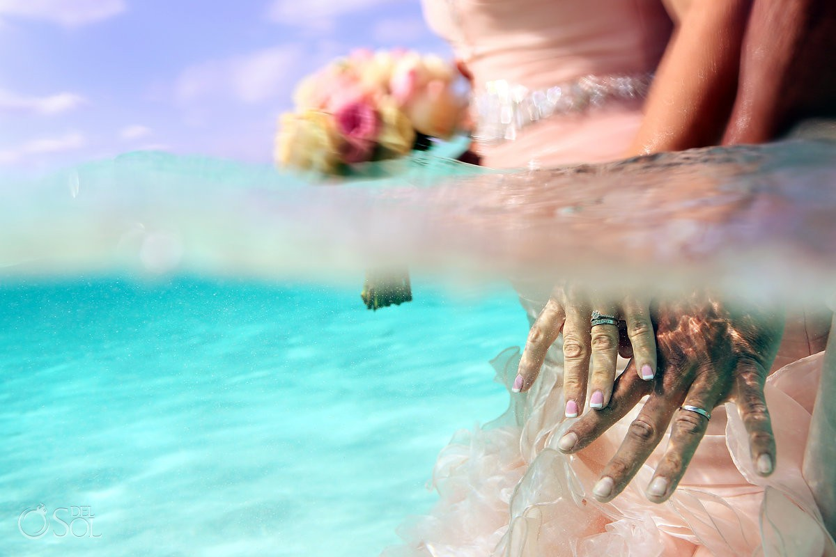 underwater wedding photo el cielo cozumel impossible wedding mermaid bride