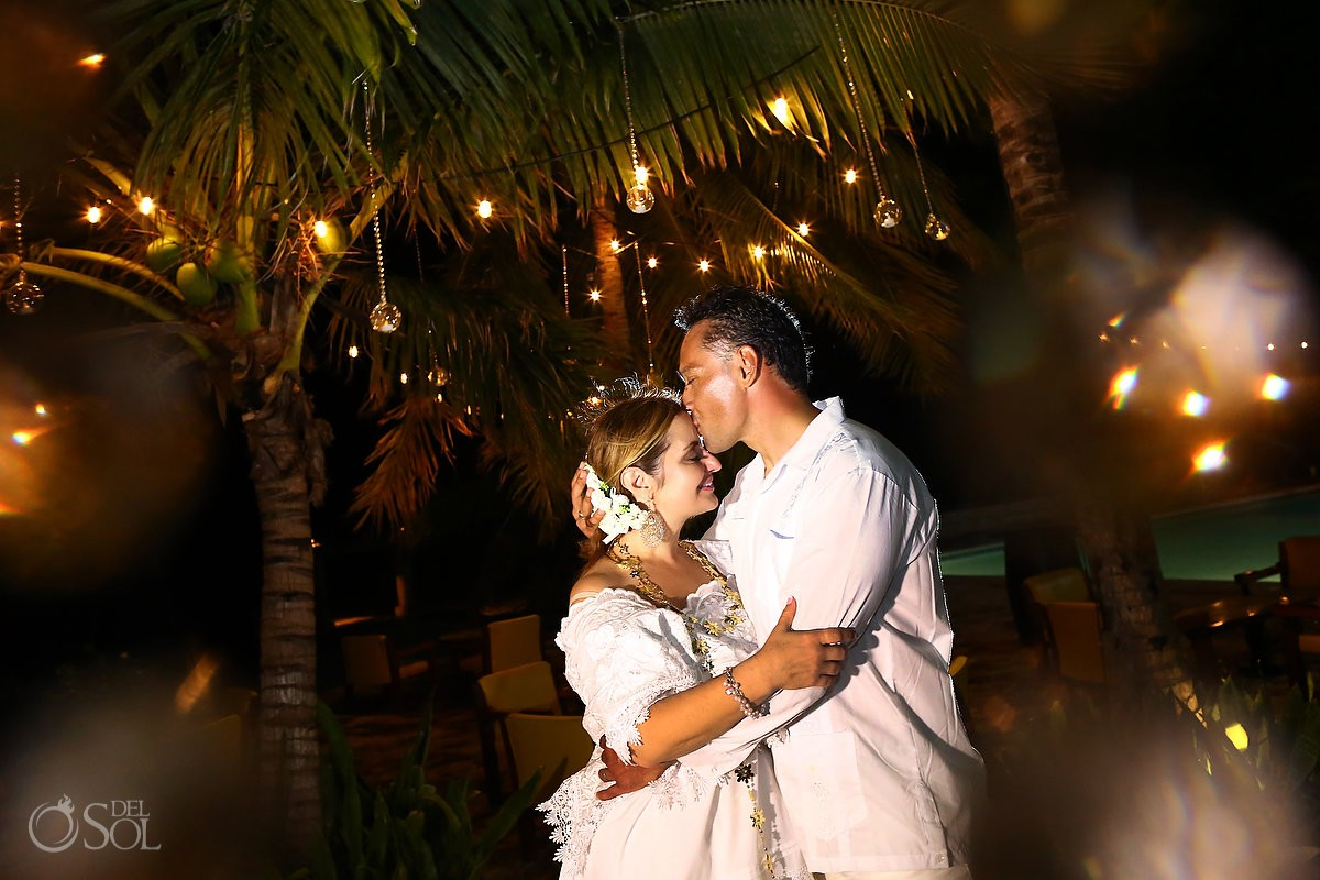 bride and groom romantic portrait Cozumel Mexico