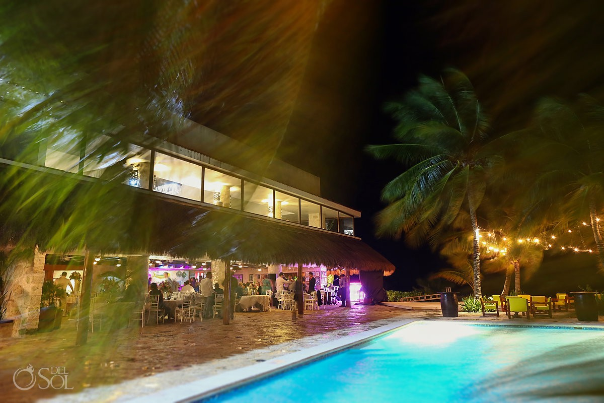 Long exposure wedding reception Cozumel Mexico