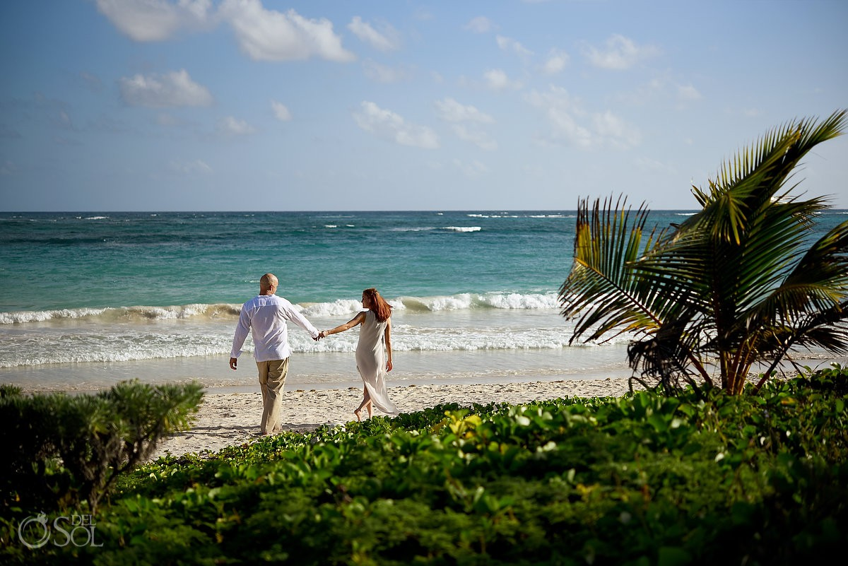 intimate beach walk Dreams Tulum honeymoon portraits session Riviera Maya Mexico