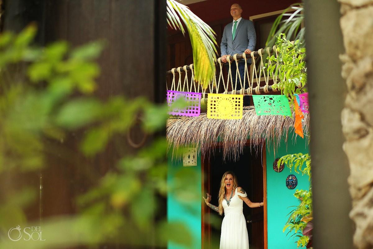 First Look bride and groom wedding cordination Cabañas La Luna Tulum Mexico.