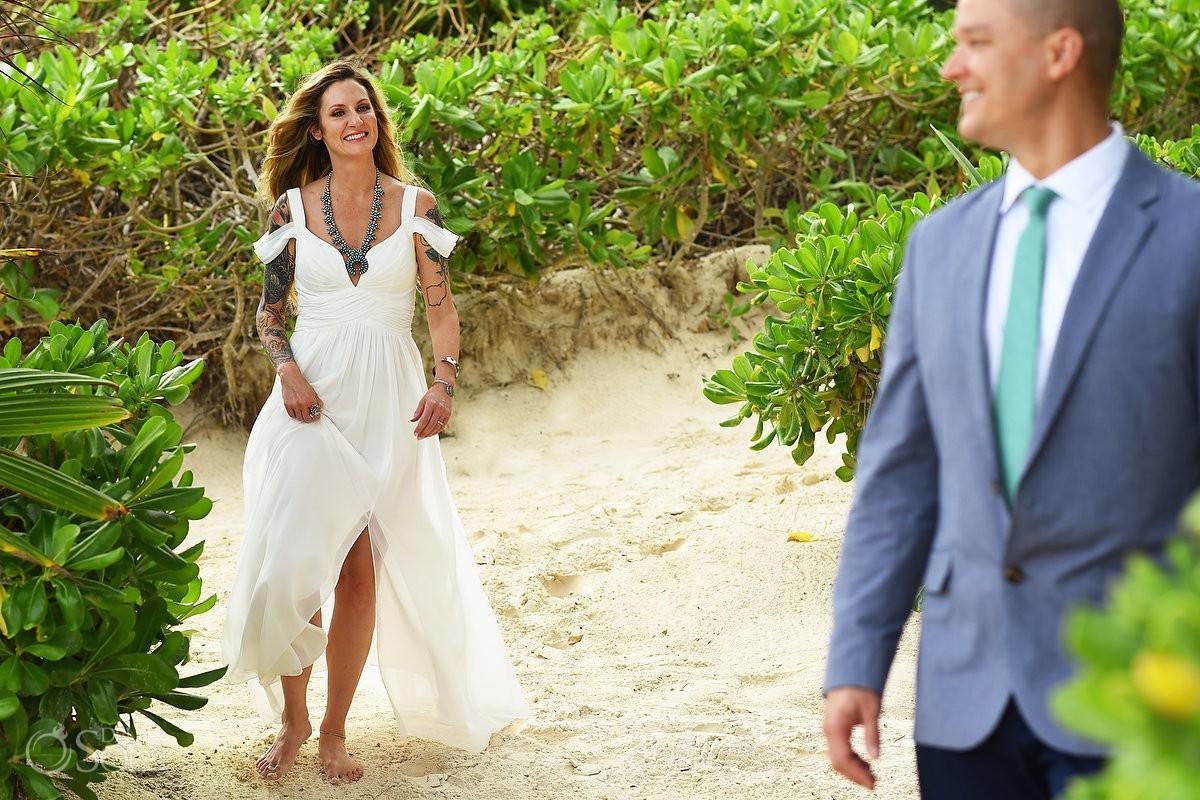 Bride and groom beach first look Destination wedding location ideas Tulum Mexico