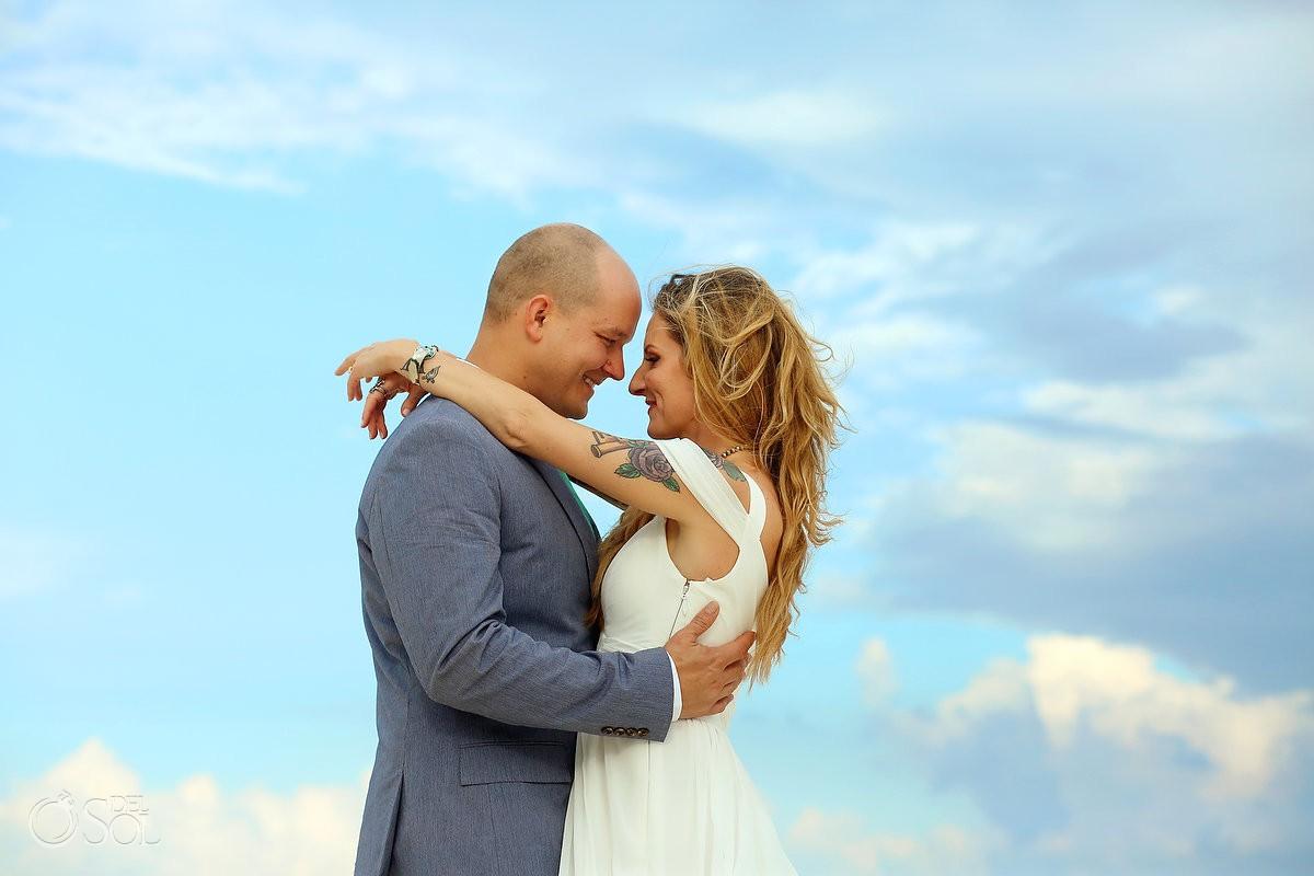 Destination wedding beach bride and groom romantic portrait Cabañas La Luna Tulum Mexico