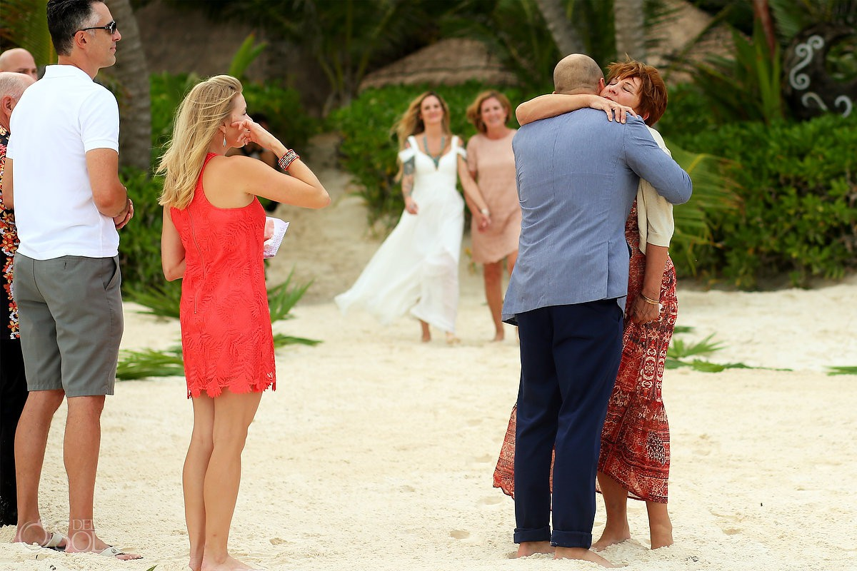 Mom giving away the groom Destination wedding ceremony Cabañas La Luna Tulum Mexico