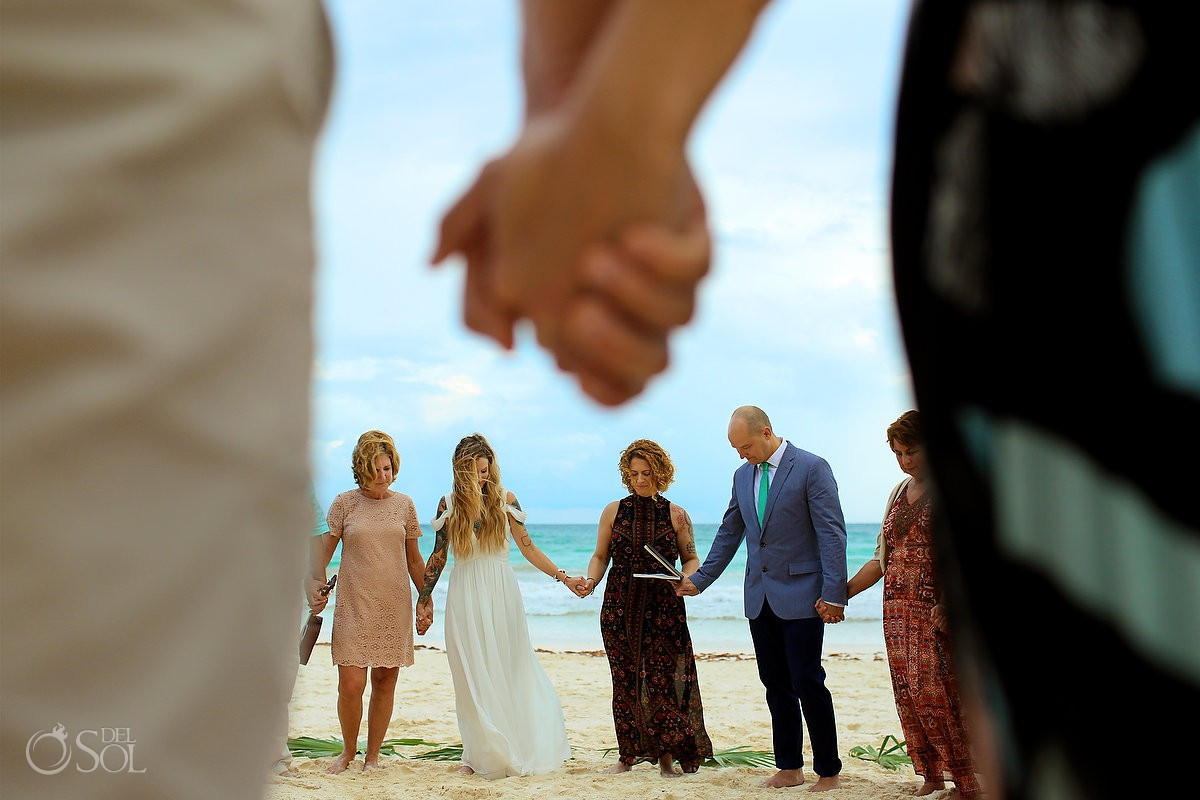 Circle of love beach spiritual ceremony Destination wedding location Tulum Mexico