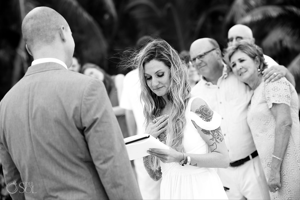 black and white beach ceremony portrait Cabañas La Luna Tulum Mexico