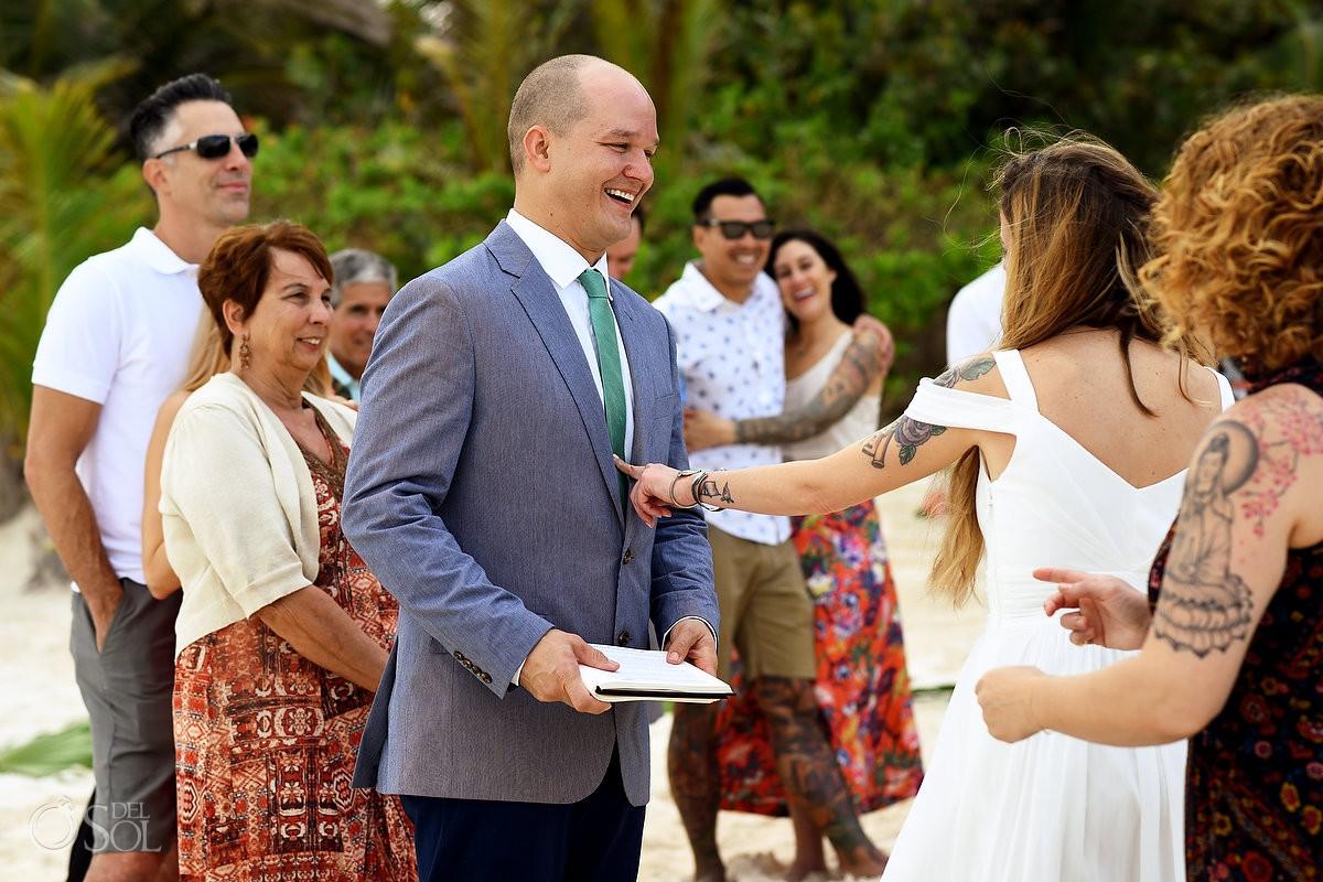 Destination beach wedding ceremony location Cabañas La Luna Tulum Mexico