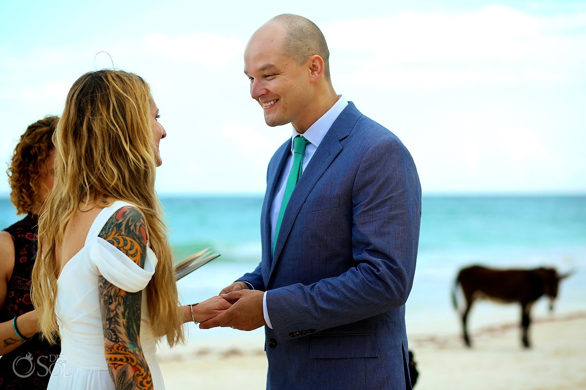 Beach wedding vows donkey photobomb Cabañas La Luna Tulum Mexico