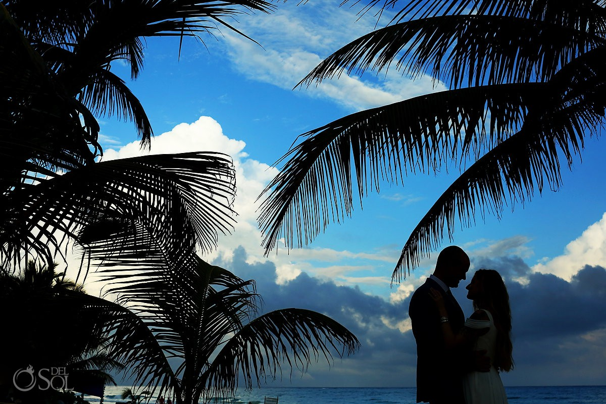 Creative bride and groom beach silhouette destination wedding Cabañas La Luna Tulum Mexico