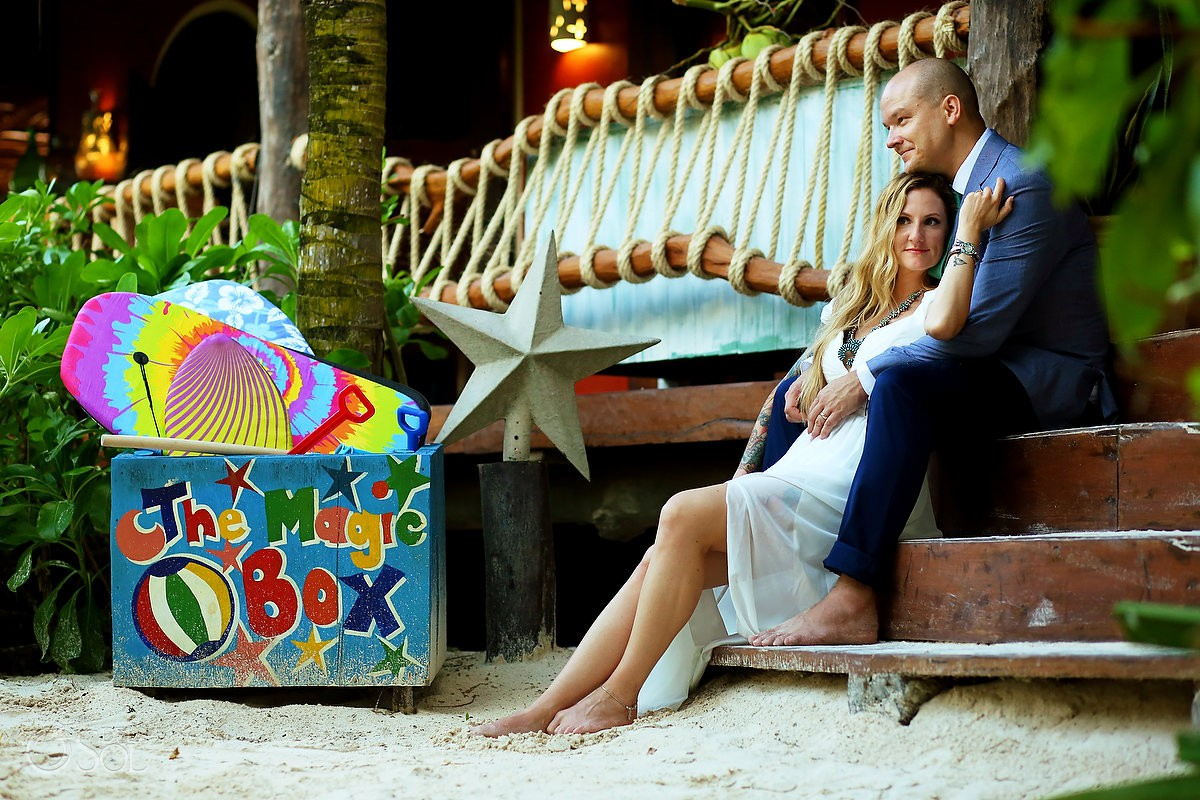 Bride and groom romantic portrait Destination wedding location ideas Tulum Mexico