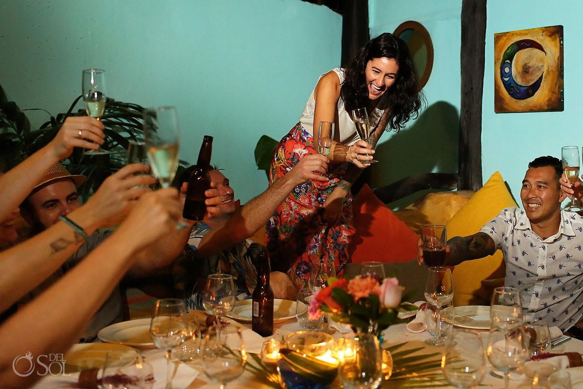 Best wedding location reception guest toast Tulum Mexico