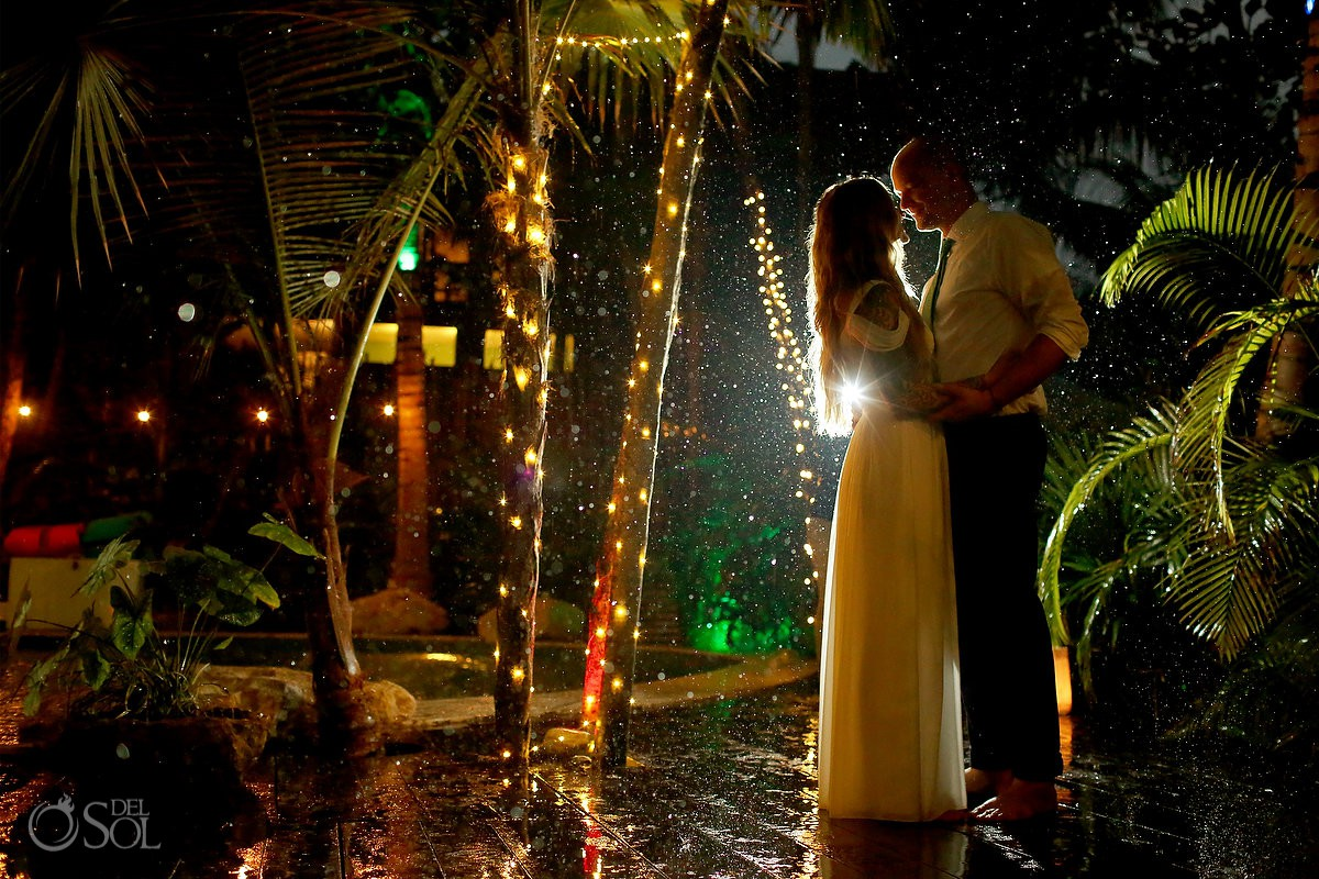 Amazing rainy wedding portrait bride and groom travel for love Cabañas La Luna Tulum Mexico