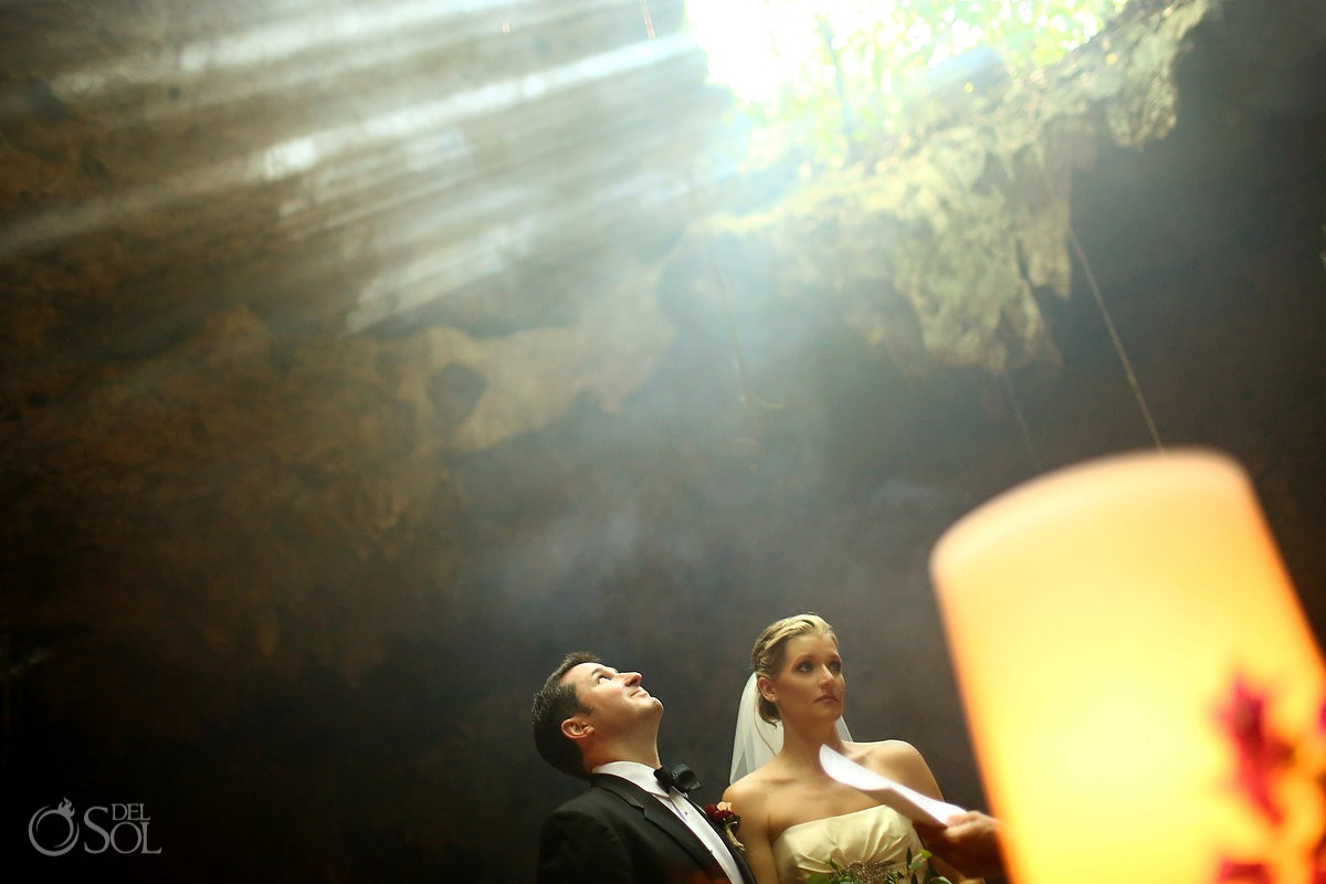 vow renewal surprise ideas cenote Aktun Chen, Mexico