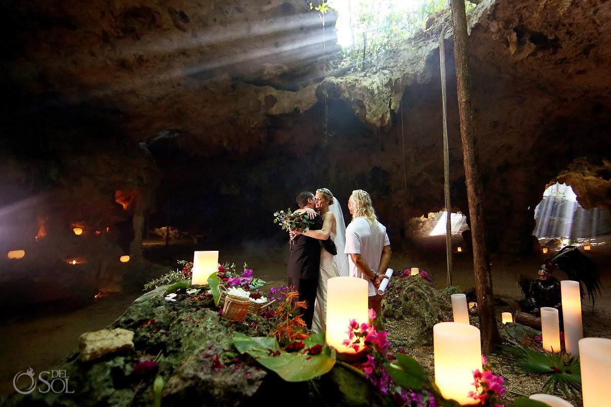 happy ten years marriage renewal vows cenote Aktun Chen, Mexico