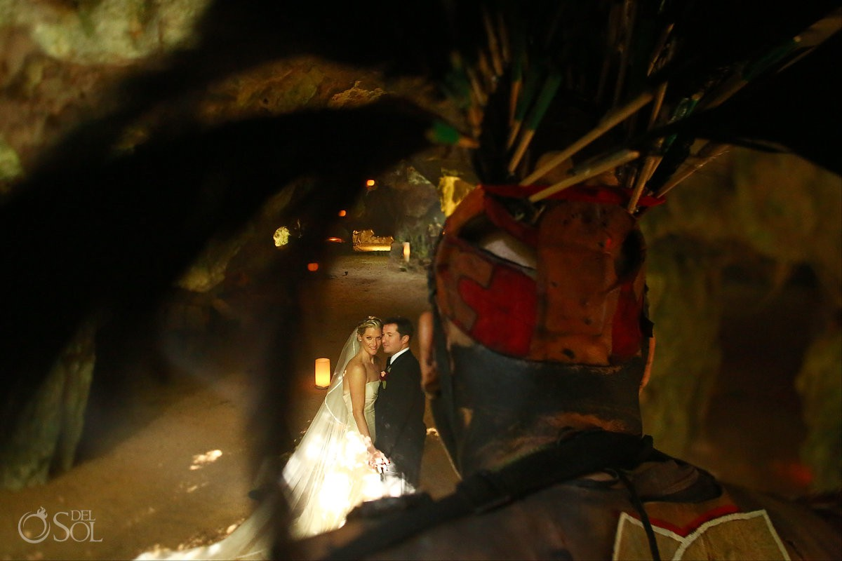 mayan ceremony vow renewal cenote Aktun Chen, Mexico