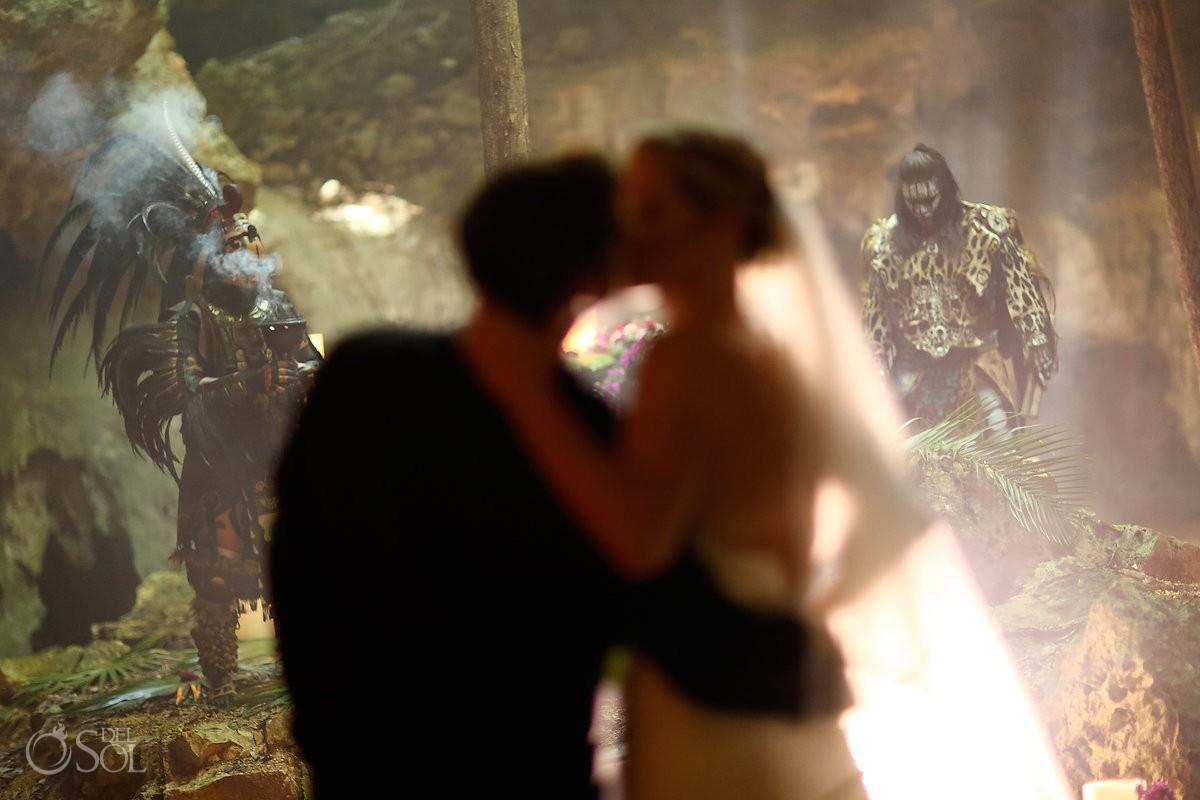 bride and groom mayan ceremony cenote Aktun Chen, Mexico