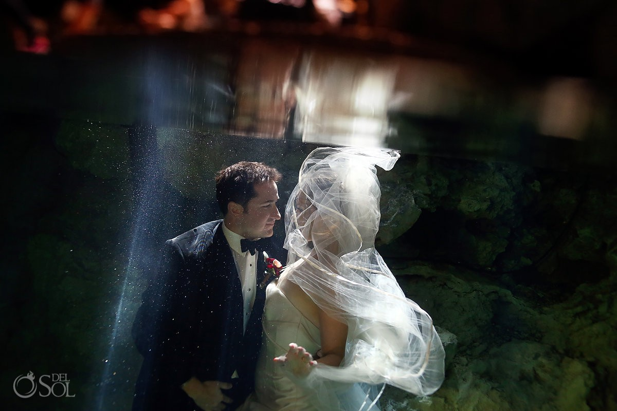 after vow renewal best ideas trash the dress cenote Aktun Chen, Mexico