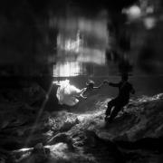 Black and white underwater portrait trash the dress cenote Surprise Vow Renewal