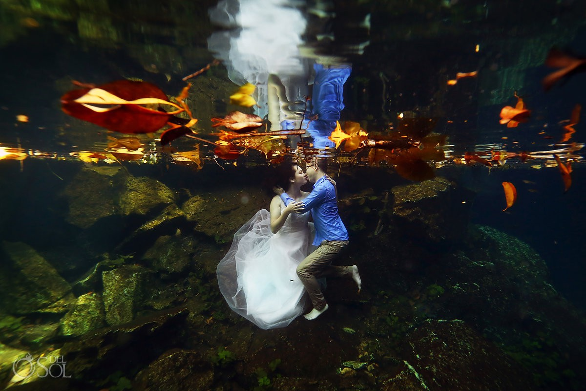 Riviera Maya Cenotes #Aworldofitsown Underwater Bride trash the dress