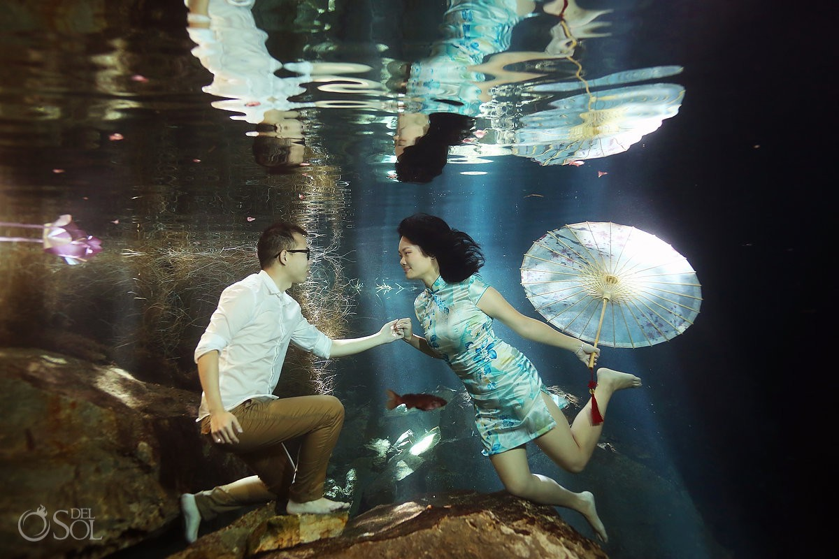 #Aworldofitsown Underwater Bride cenote trash the dress Riviera Maya Mexico