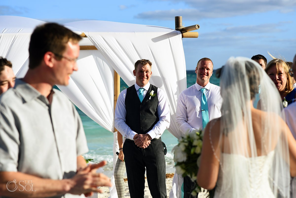 bride and groom first look wedding ceremony Destination Wedding Barceló Maya Palace Riviera Maya Mexico