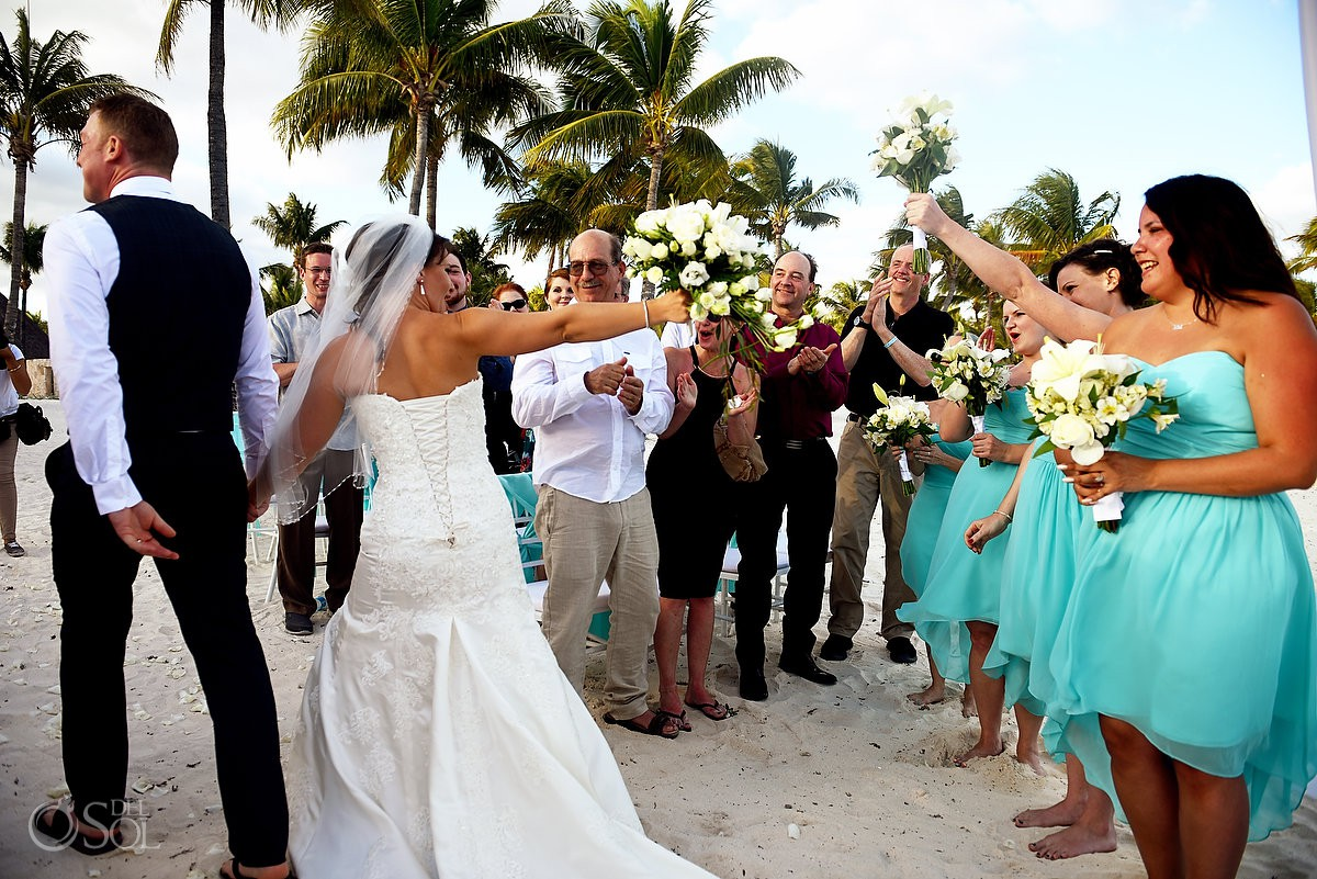 bride and groom just married wedding ceremony Barceló Maya Palace Riviera Maya Mexico