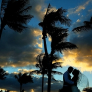 Beautiful sunset color destination wedding Barceló Maya Palace Riviera Maya Mexico