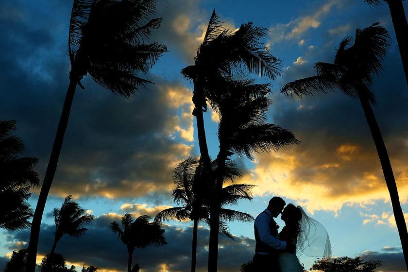 Beautiful sunset color destination wedding Barceló Maya Palace Riviera Maya Mexico