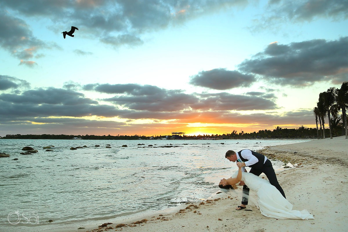 Wedding sunset bride and groom romantic picture Barceló Maya Palace Riviera Maya Mexico